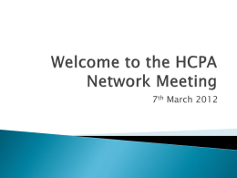 Welcome to the HCPA Network Meeting