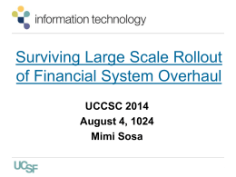 Surviving large scale rollout of Financial System overhaul