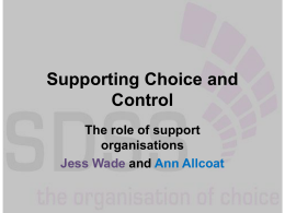 Jess Wade (SDSS) - Self Directed Support Scotland