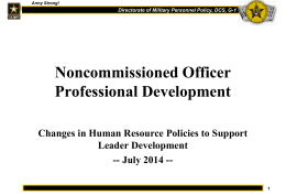NCOPD - Changes in Human Resource Policies to Support Leader