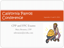 The CPP and FPC Exams - California Payroll Conference