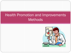 Health Promotion and Improvements Methods