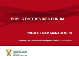 Project Risk Management - Office of the Accountant