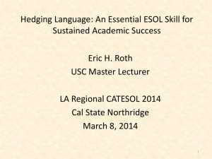 Hedging Language: An Essential Skill for ESOL Student Success
