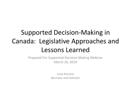 Supported Decision-Making in Canada: Legislative Approaches and