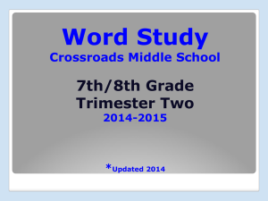 Word Study Crossroads Middle School 7th/8th Grade