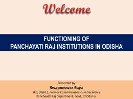 Functioning PRIs in Odisha