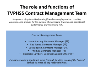 The role and functions of TVPHSS Contract Management Team