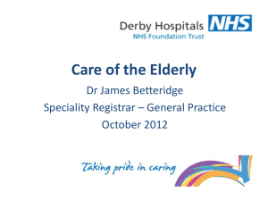 Care of the Elderly - Derby GP Specialty Training Programme