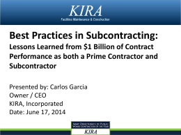 Best Practices in Subcontracting