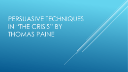 Persuasive Techniques in *The Crisis* by Thomas paine