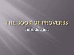Proverbs 01 - Introduction