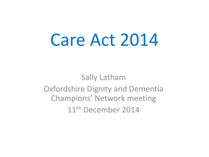 Oxfordshire presentation on the Care Act - 2014