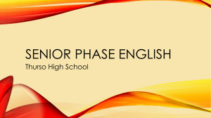 Senior Phase English - Thurso High School English Department