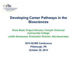 Developing Career Pathways in the Biosciences