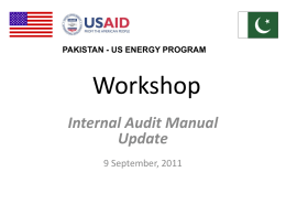 Internal Audit Workshop - USAID`s Power Distribution Program