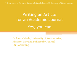 "Writing an Article for an Academic Journal: Yes, you can"" by Dr"
