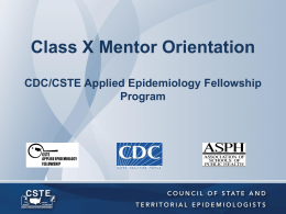 Class VIII Mentor Orientation CDC/CSTE Applied Epidemiology
