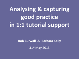 Analysing and Capturing Good Practice