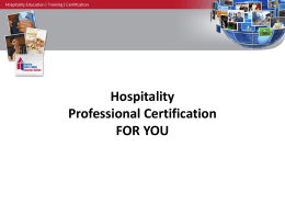 Hospitality Professional Certification FOR YOU - CHA