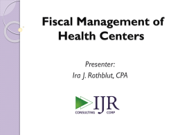 Fiscal Management of Health Centers – Ira Rothblut