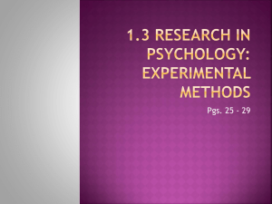 1.3 Research in psychology Experimental Methods
