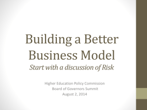 Start with a discussion of Risk - West Virginia Higher Education