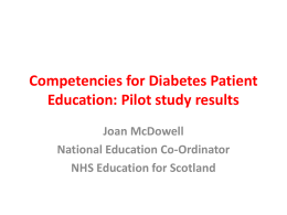 Competencies for Diabetes Patient Education: Pilot study results