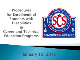 Career and Technology Procedures for Enrollment