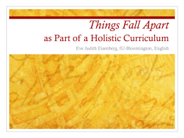 Things Fall Apart as Part of a Holistic Curriculum