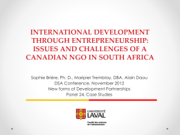 issues and challenges of a Canada NGO in south Africa