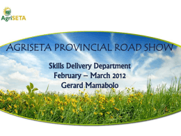 Skills Delivery Information - Gerard Mamabolo