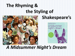 The Rhyming & Styling of MSND