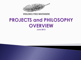 Philosophy and projects overview 13