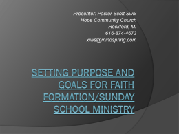 Christian Education Purpose and Goals Workshop