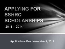 APPLYING FOR SSHRC SCHOLARSHIPS