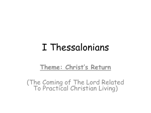 030115 I Thessalonians 4 - Chesed Bible Fellowship