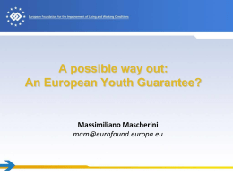 Massimilliano Mascherini - A European Youth Guarantee