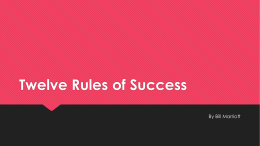 Twelve Rules of Success