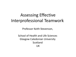 Assessing effective interprofessional teamwork