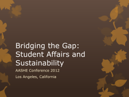 Bridging the Gap: Student Affairs and Sustainability
