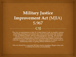 Military Justice Improvement Act