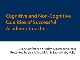 Cognitive and Non-Cognitive Qualities of Successful Academic