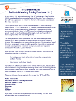 GSK `Chemistry Training Experience` flyer