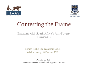 Engaging with South Africa`s Anti-Poverty Consensus