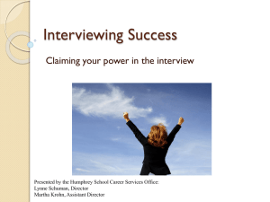 Interviewing well (PowerPoint)