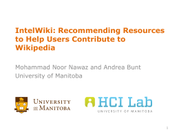 IntelWiki: Recommending Resources to Help Users Contribute to