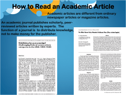 How To Read an Academic Article PPT
