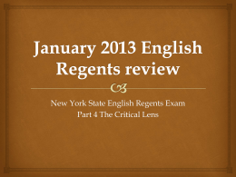 January 2013 English Regents review