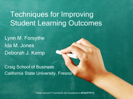 Techniques for Improving Student Learning Outcomes